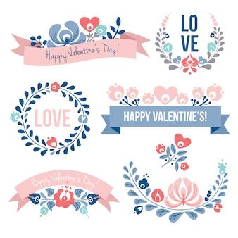 Insieme di elementi floreali di san valentino