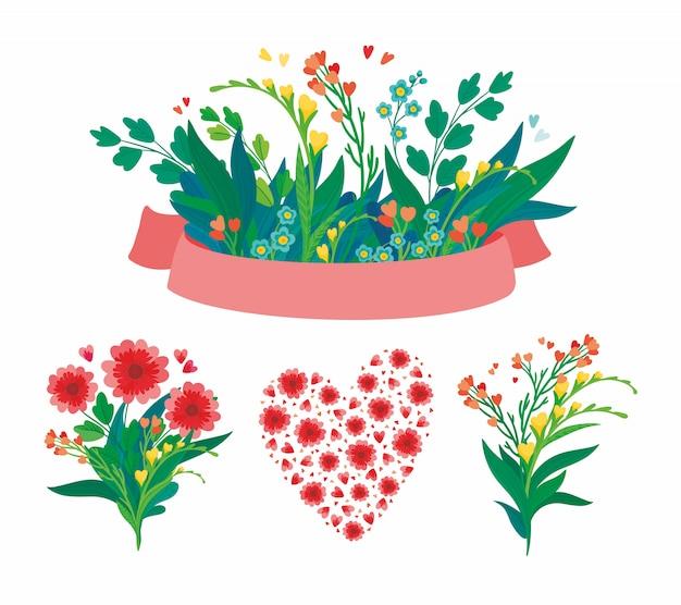 Insieme di elementi floreali per san valentino o invito a nozze.