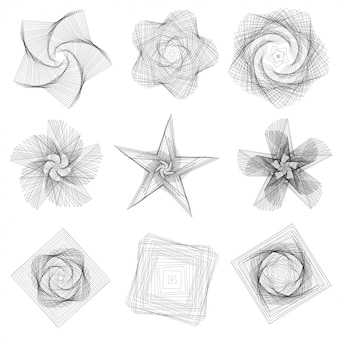 Insieme di elementi geometrici astratti e forme su sfondo bianco.