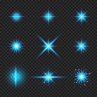 Insieme di elementi incandescente raggi di luce blu scoppiare