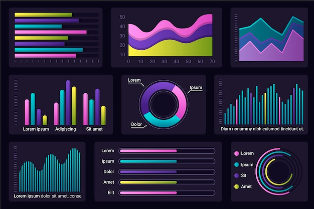 Insieme di elementi infographic cruscotto