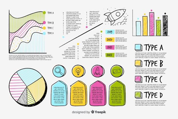 Insieme di elementi infographic disegnato a mano