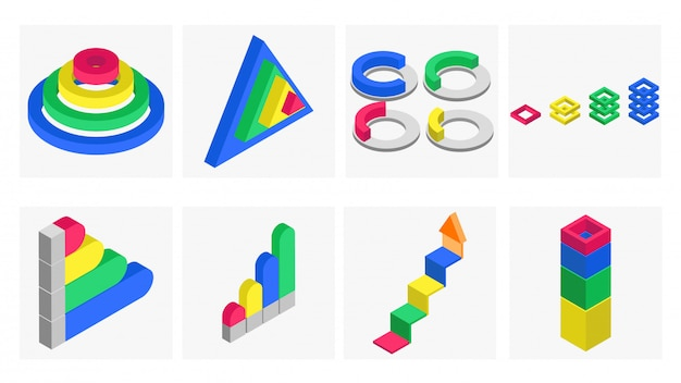 Insieme di elementi infographic isometrico 3d.