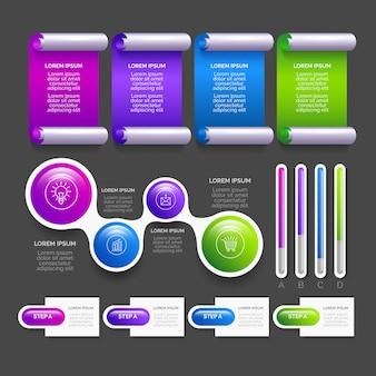 Insieme di elementi infographic lucido realistico