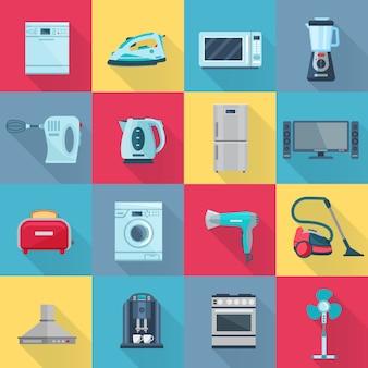 Insieme di elementi isolato degli elettrodomestici dell'ombra di colore dell'illustrazione piana di vettore dei prodotti elettronici e digitali elettrici
