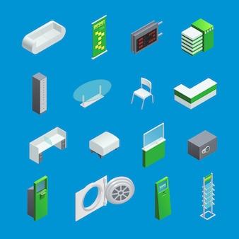 Insieme di elementi isometrici variopinti per l'interno della banca con mobilia e bancomat isolato su fondo blu