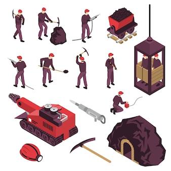 Insieme di elementi isometrico di industria estrattiva