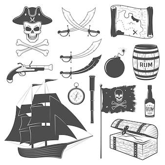 Insieme di elementi monocromatico dei pirati con l'illustrazione di vettore isolata palla di cannone del torace del rum della mappa del telescopio della bandiera dell'arma della barca a vela