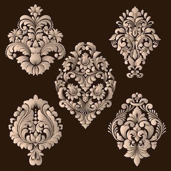Insieme di elementi ornamentali damascati