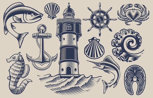 Insieme di elementi per il tema dei frutti di mare su uno sfondo chiaro