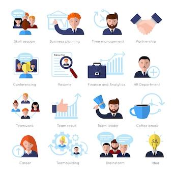Insieme di elementi piani di lavoro di squadra