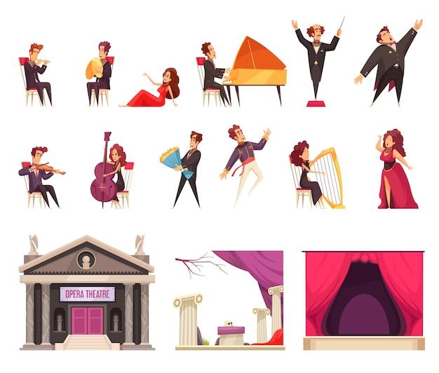 Insieme di elementi piano del fumetto del teatro dell'opera con la costruzione delle decorazioni della tenda della fase del conduttore dei cantanti dei musicisti di spettacolo