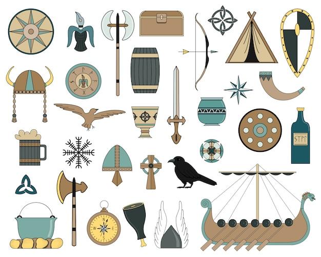 Insieme di elementi piatti vichinghi. cultura e tradizioni scandinave.
