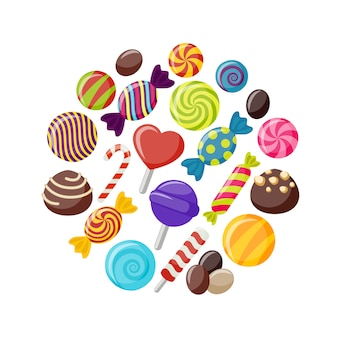 Insieme di elementi piatto di caramelle dolci