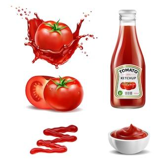 Insieme di elementi realistico di spruzzata di pomodori rossi di succo di pomodoro, bottiglia di ketchup, intero e una fetta di pomodoro