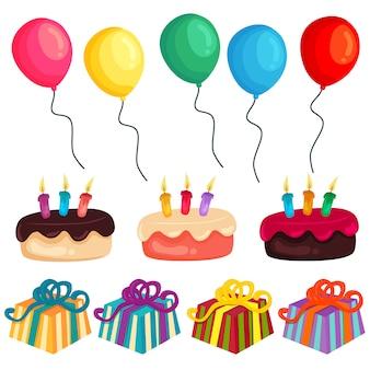Insieme di elementi variopinto della torta del pallone della festa di compleanno