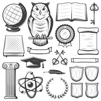 Insieme di elementi vintage università e accademia