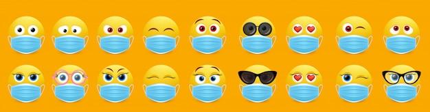 Insieme di emoji della maschera di protezione del virus della corona, illustrazione isolata