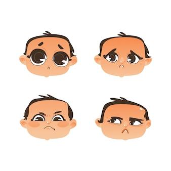 Insieme di emozione di espressione del fronte del bambino
