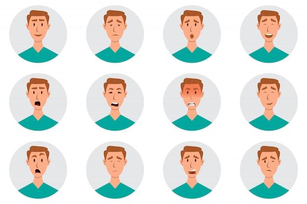 Insieme di emozioni facciali maschili. personaggio emoji uomo con espressioni diverse