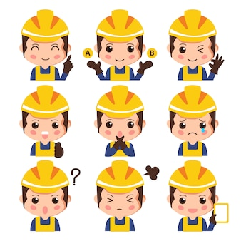 Insieme di espressione facciale dell'operaio di costruzione