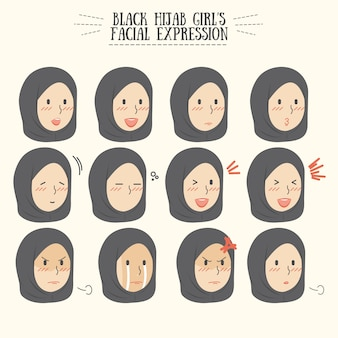 Insieme di espressioni facciali della ragazza nera di hijab