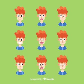 Insieme di espressioni facciali di diverse emozioni