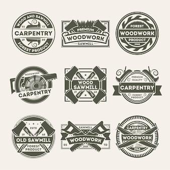 Insieme di etichetta isolato annata della società della lavorazione del legno