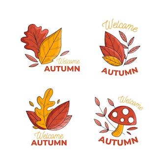 Insieme di etichette autunno disegnato a mano