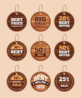 Insieme di etichette d'annata di sconto di vendita di legno