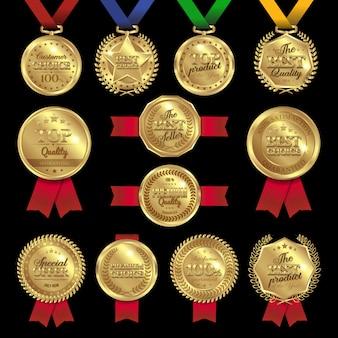 Insieme di etichette dei premi della medaglia
