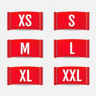 Insieme di etichette dell'abbigliamento isolato su trasparente