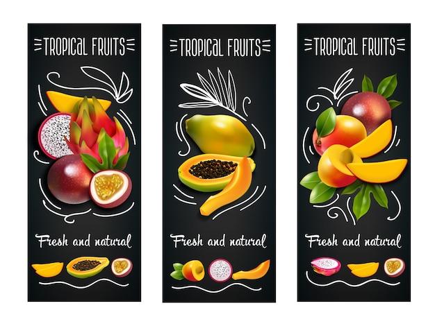 Insieme di etichette della lavagna di frutti tropicali
