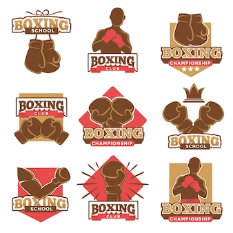 Insieme di etichette delle icone di vettore di campionato della scuola del pugile o del club di pugilato