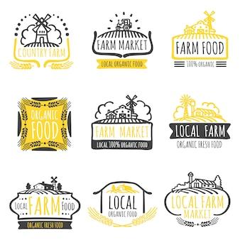 Insieme di etichette di alimenti biologici del mercato aziendale disegnato a mano