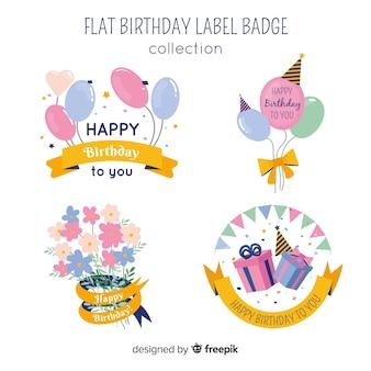 Insieme di etichette di compleanno di colore pastello