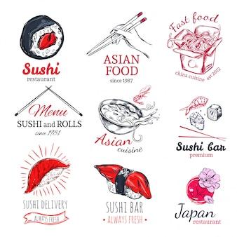Insieme di etichette di schizzo di cibo asiatico