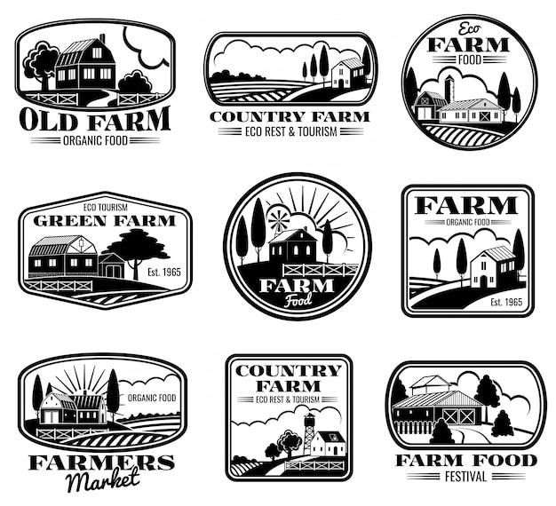 Insieme di etichette ed etichette di vettore di marketing di fattoria d'epoca