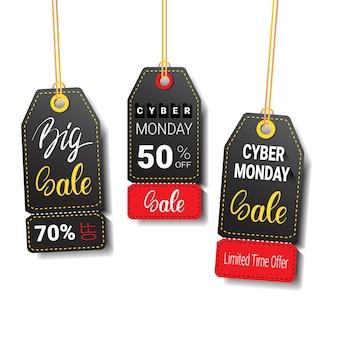 Insieme di etichette o di etichette differenti di vendita di cyber monday isolato