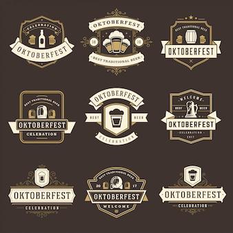 Insieme di etichette, scudetti e loghi festival della birra celebrazione oktoberfest