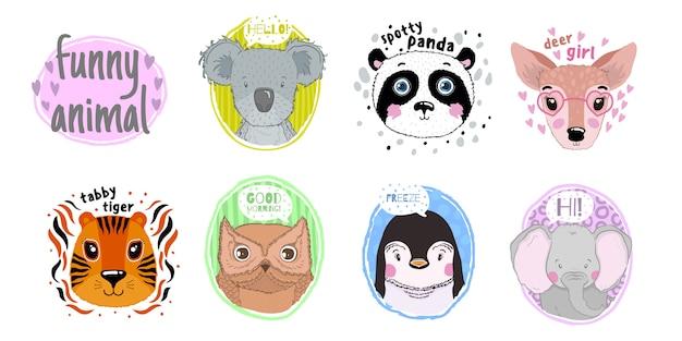 Insieme di facce di animali del fumetto. muso testa divertente stile disegnato a mano
