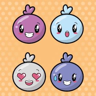 Insieme di facce di cartone animato kawaii su emoji punteggiato, felice