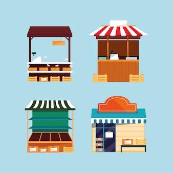 Insieme di facciate di negozi e stand di strada o di mercato