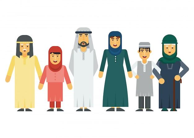 Insieme di famiglia musulmana araba di vettore del fumetto.
