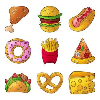 Insieme di fast food di doodle del fumetto.