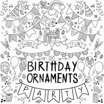 Insieme di festa di doodle disegnato a mano libera di ornamenti di buon compleanno