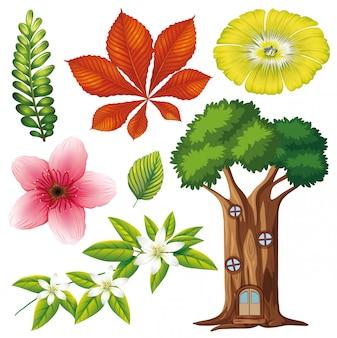 Insieme di fiori e alberi isolati