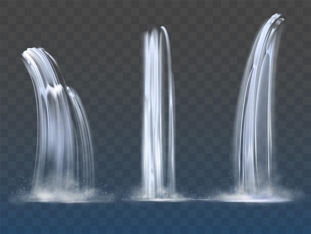Insieme di flussi realistici di caduta dell'acqua della cascata della cascata