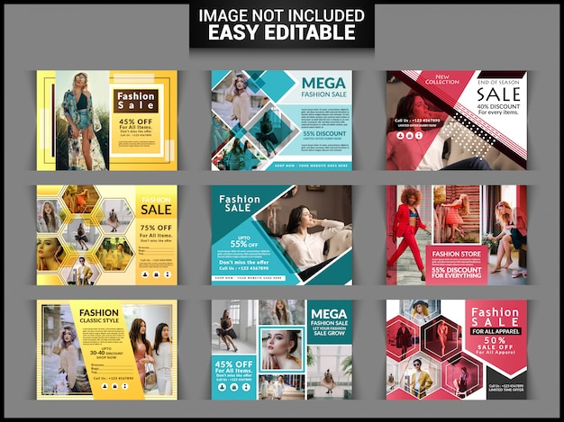 Insieme di flyer orizzontale di vendita di moda