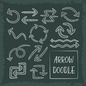 Insieme di frecce di doodle disegnato a mano